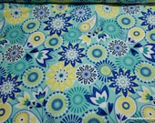 Flannel Fabric - Floral Medallion Aqua - By the yard - 100% Cotton Flannel