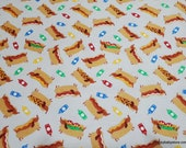Flannel Fabric - Hot Dogs - By the yard - 100% Cotton Flannel