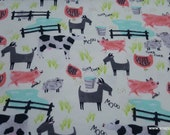 Flannel Fabric - New Fun Farm Animals - By the yard - 100% Cotton Flannel