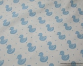 Flannel Fabric - Cute Duck Dreamy Blue on White - By the yard - 100% Cotton Flannel