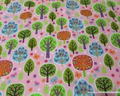 Flannel Fabric - Trees on Pink - By the yard - 100% Cotton Flannel