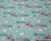 Flannel Fabric - Beyoutiful Blue - By the Yard - 100% Cotton Flannel
