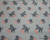 Flannel Fabric - Kitty with Yarn - By the yard - 100% Cotton Flannel