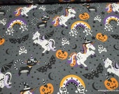 Flannel Fabric - Halloween Unicorns  - By the Yard - 100% Cotton Flannel