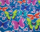 Flannel Fabric - Multi Color Butterflies - By the yard - 100% Cotton Flannel