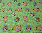 Flannel Fabric - Animals in Circles Green - By the yard - 100% Cotton Flannel
