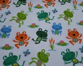 Flannel Fabric - Happy Frog Tossed - By the yard - 100% Cotton Flannel