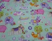 Flannel Fabric - Baby Farm Mint - By the yard - 100% Cotton Flannel