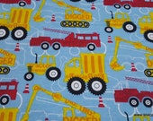 Flannel Fabric - Construction Trucks Red Yellow - By the yard - 100% Cotton Flannel