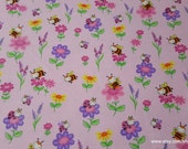 Flannel Fabric - Flowers and Buzzing Bees on Pink - By the yard - 100% Cotton Flannel