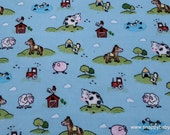 Flannel Fabric - Blue Meadow Farm Flannel - By the yard - 100% Cotton Flannel