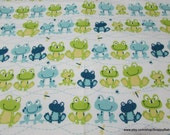 Flannel Fabric - Frog Line - By the yard - 100% Cotton Flannel