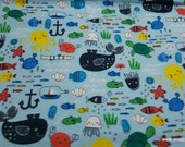 Flannel Fabric - Baby Sea Creatures - By the yard - 100% Cotton Flannel