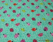 Flannel Fabric - Ladybugs Green - By the yard - 100% Cotton Flannel