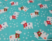 Christmas Flannel Fabric - Polar Bears with Scarves - By the yard - 100% Cotton Flannel