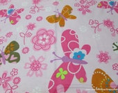 Flannel Fabric - Textured Butterflies - By the yard - 100% Cotton Flannel