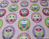 Flannel Fabric - Framed Owls - By the yard - 100% Cotton Flannel