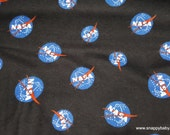 Character Flannel Fabric - Nasa Logo Black - By the yard - 100% Cotton Flannel