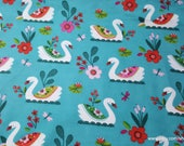 Flannel Fabric - Pretty Swans - By the yard - 100% Cotton Flannel