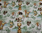 Flannel Fabric - Woodland Tykes Allover - By the yard - 100% Cotton Flannel