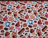 Flannel Fabric - Sophisticated Pastries - By the yard - 100% Cotton Flannel