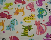 Flannel Fabric - Kitties on Pale Yellow - By the yard - 100% Cotton Flannel