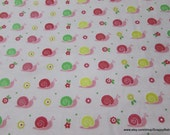 Flannel Fabric - Snails Light Pink - By the Yard - 100% Cotton Flannel