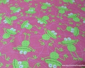 Flannel Fabric - Dotted Frogs - By the yard - 100% Cotton Flannel