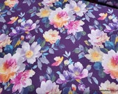 Flannel Fabric - Watercolor Floral on Purple - By the Yard - 100% Cotton Flannel