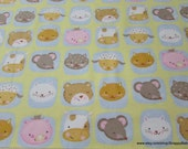 Flannel Fabric - Nursery Rhyme Animal Faces - By the yard - 100% Cotton Flannel