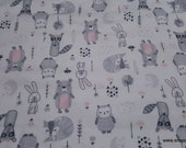 Flannel Fabric - Wood Sweet Animals on White - By the yard - 100% Cotton Flannel