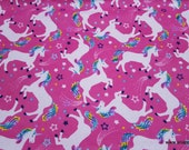Flannel Fabric - Magical Unicorns Pink - By the yard - 100% Cotton Flannel