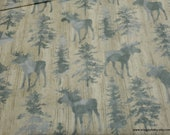 Flannel Fabric - Textured Moose on Wood Panel - By the Yard - 100% Cotton Flannel