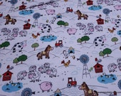 Flannel Fabric - White Farm - By the yard - 100% Cotton Flannel