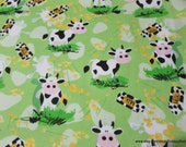 Flannel Fabric - Milk Cows - By the yard - 100% Cotton Flannel