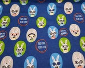 Flannel Fabric - Hipster Bunnies - By the yard - 100% Cotton Flannel