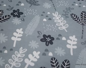 Flannel Fabric - Sweet Safari Gray Tossed Leaves - By the yard - 100% Cotton Flannel