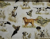 Flannel Fabric - Realistic Dogs Running - By the yard - 100% Cotton Flannel