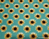 Flannel Fabric - Sunflowers on Aqua - By the yard - 100% Cotton Flannel
