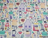 Flannel Fabric - Cooking Icons - By the yard - 100% Cotton Flannel
