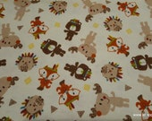 Flannel Fabric - Neutral Tribal Animals - By the yard - 100% Cotton Flannel