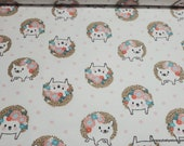 Flannel Fabric - Hanna White Tossed Hedgehog - By the yard - 100% Cotton Flannel