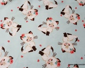 Flannel Fabric - Feminine Kitty - By the yard - 100% Cotton Flannel