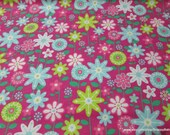 Flannel Fabric - Flower Meadow - By the yard - 100% Cotton Flannel