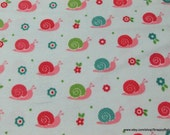 Flannel Fabric - Snails Light Blue - By the Yard - 100% Cotton Flannel