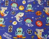 Flannel Fabric - Sea Animal Rock Band - By the yard - 100% Cotton Flannel