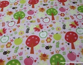 Flannel Fabric - Buzzy Garden Pink - By the yard - 100% Cotton Flannel