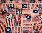 Flannel Fabric - Americana Flags - By the yard - 100% Cotton Flannel