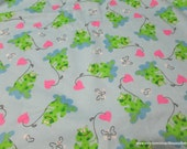 Flannel Fabric - Frogs and Hearts on Light Blue - By the yard - 100% Cotton Flannel