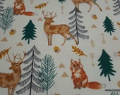 Flannel Fabric - Sophisticated Sketch Woodland - By the yard - 100% Cotton Flannel